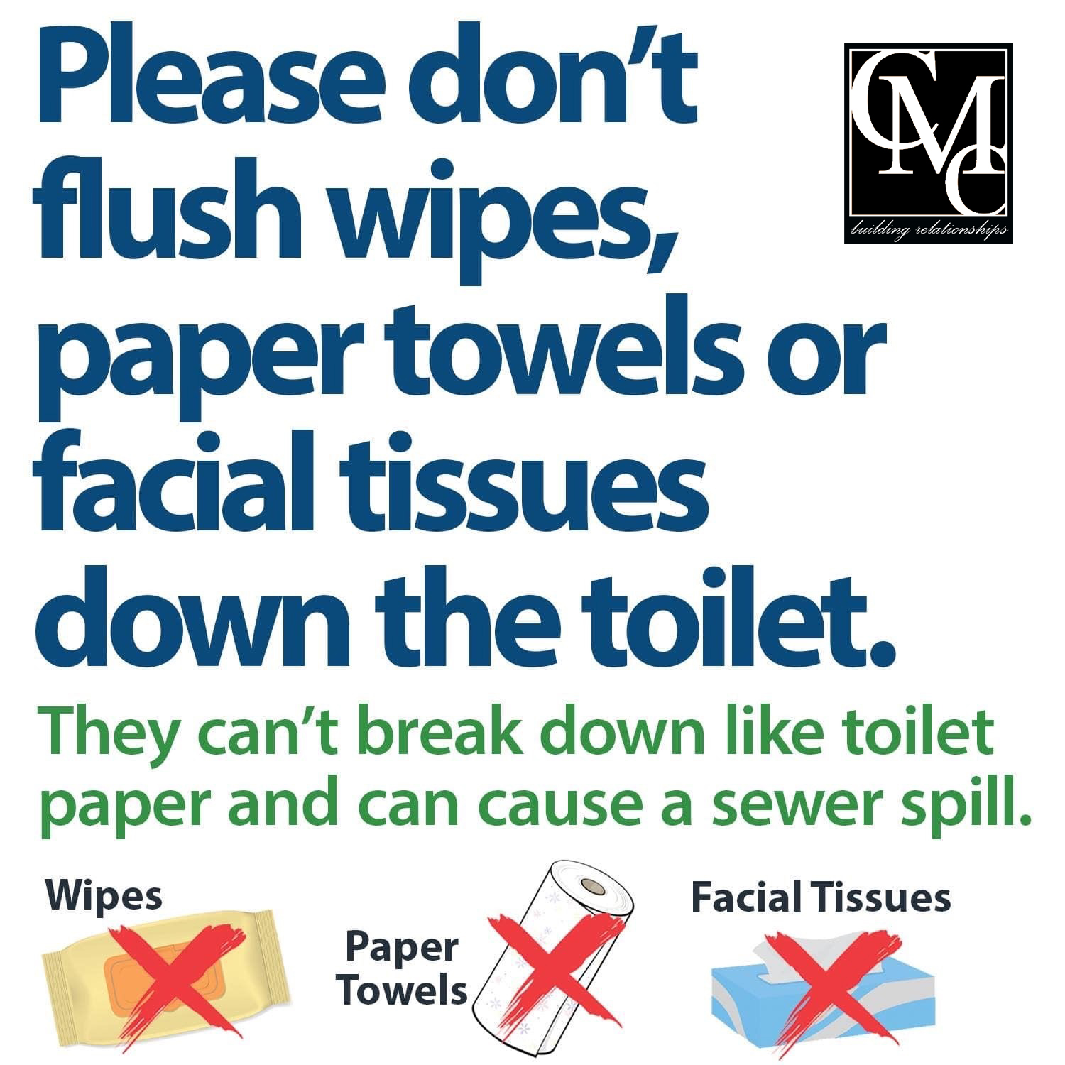 Please do not flush wipes, paper towels, or facial tissues